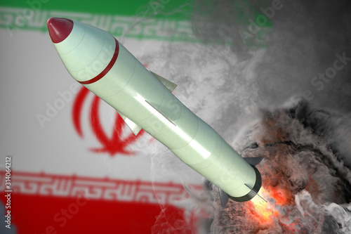 Obraz Launch of missile. Iran flag in background. 3D rendered illustration. - fototapety do salonu