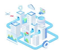 Digital Technologies Isometric Vector Illustration. Industrial Innovative Town Management. Futuristic Cluster. Connection And Urban Infrastructure. Smart City Cartoon Conceptual Design Element