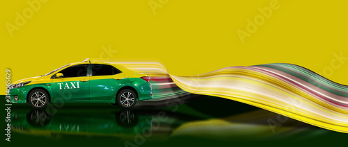 taxi in green yellow color with stretch pixel Canvas Print