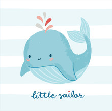 Cute Whale Illustration With L...