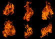 canvas print picture - Fire collection set of flame burning isolated on dark background for graphic design purpose