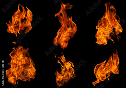 Fire collection set of flame burning isolated on dark background for graphic des Poster Mural XXL