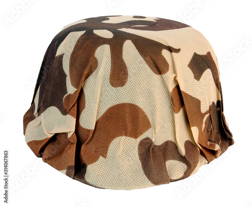Toy brown camouflage army helmet. Isolated.