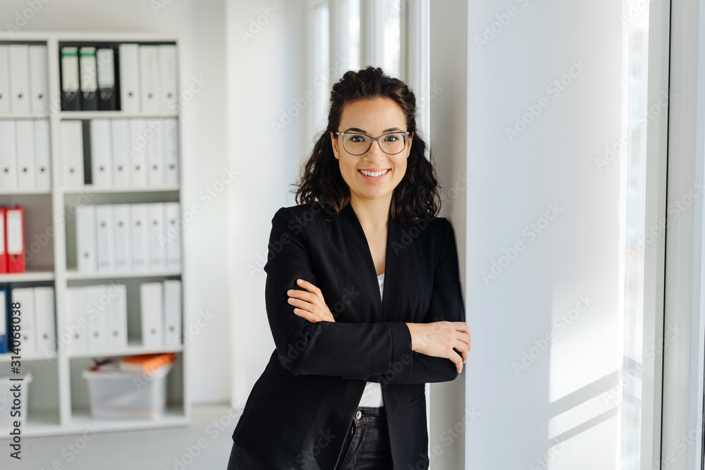 Fototapeta Happy relaxed young professional woman
