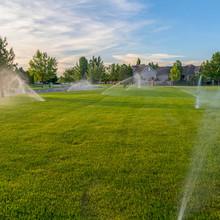 Square Sprinklers Spraying Wat...