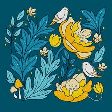 Isolated Flowers And Birds - Turquoise And Gold Yellow