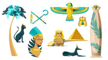 Ancient Egypt Symbols. Vector Icons Set Of Sculptures Of Egyptian Gods, Sphinx, Pyramid And Signs Of Pharaoh Power. Historical Architecture, Palm, Golden Scarab And Cleopatra Statue
