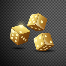 Gold Dice On Isolated Transparent Black Background. Vector Illustration