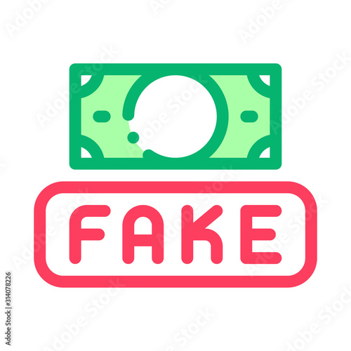 Fototapeta Fake Money Currency Icon Vector. Outline Fake Money Currency Sign. Isolated Contour Symbol Illustration obraz