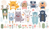 Cute scandinavian animals. Hand drawn. Doodle cartoon animals for nursery posters, cards, t-shirts. Vector illustration. Bear, hedgehog, llama, fox, hare, wolf, deer, badger, flowers, tree and plants.