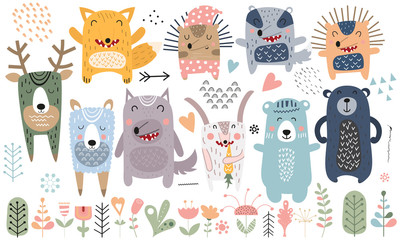 Cute scandinavian animals. Hand drawn. Doodle cartoon animals for nursery posters, cards, t-shirts. Vector illustration. Bear, hedgehog, llama, fox, hare, wolf, deer, badger, flowers, tree and plants.