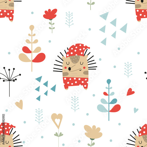 Seamless pattern with cute hedgehog and forest elements in Scandinavian style. Vector Illustration. Great for nursery, baby clothes, greeting cards, wrapping paper.