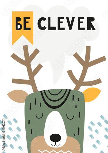 dziecinny-plakat-z-uroczym-jeleniem-w-stylu-skandynawskim-ilustracja-wektorowa-dzieci-ilustracji-do-projektowania-przedszkola-idealne-na-ubrania-dla-dzieci-karty-okolicznosciowe-papier-pakowy-napis-badz-sprytny