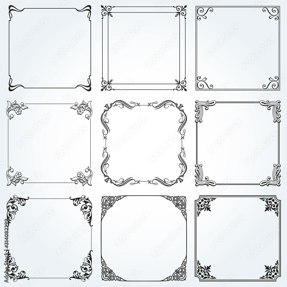 Fototapeta Frames and borders square decorative set vector