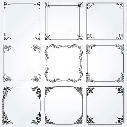 Fotografija Frames and borders square decorative set vector