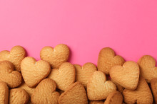 Heart Shaped Cookies On Pink B...