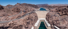 Hoover Dam Panorama Landscape On A Sunny Day