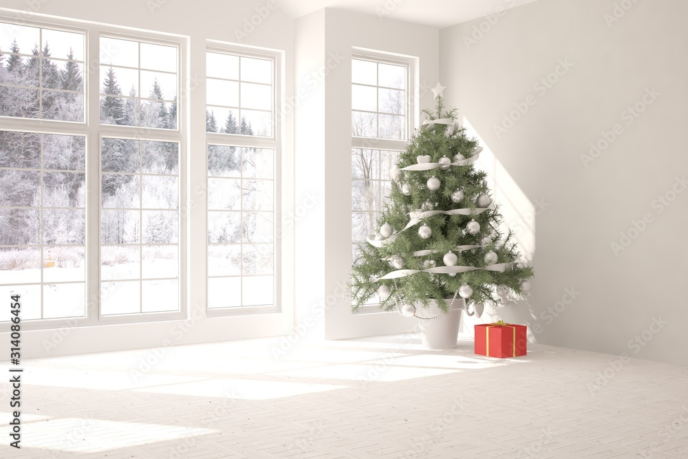 Fototapeta Empty christmas interior of living room. Scandinavian design. 3D illustration
