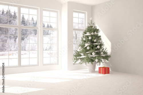 Obraz Empty christmas interior of living room. Scandinavian design. 3D illustration - fototapety do salonu