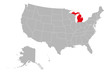 Michigan state highlighted on USA political map vector illustration. Gray background.