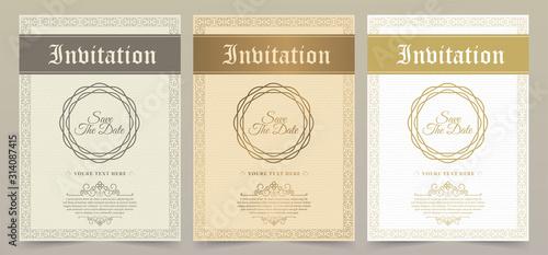 Cuadros en Lienzo Luxury vintage golden vector invitation card template