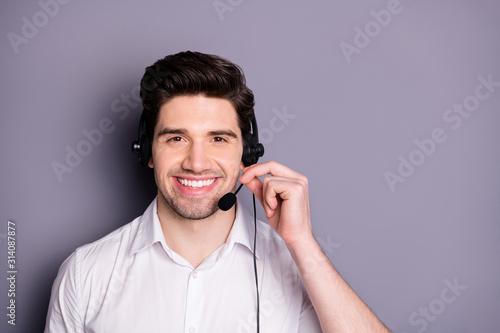 Canvastavla Portrait of smart confident call center worker man wear earphones can help custo