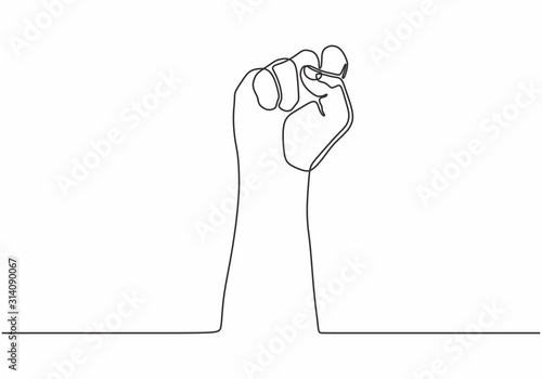 Fotografiet continuous line drawing of fist hand