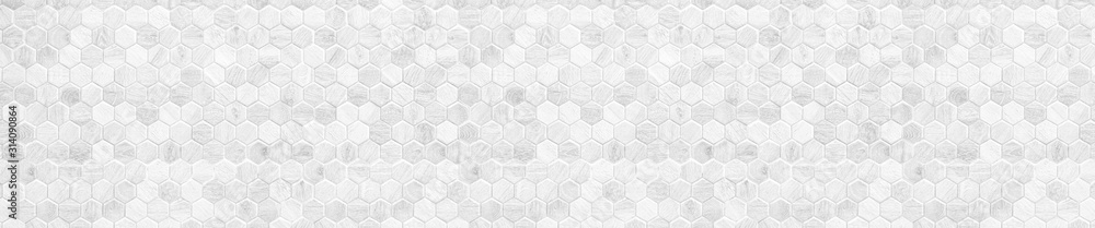 Fototapeta Honeycomb patterned wood panels in hexagonal shape, wood, blackground, abstract brown pattern