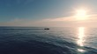Sailing fishing boat in the sea water early in the morning and beautiful sunrise