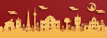 Panorama Postcard And Travel Poster Of World Famous Landmarks Of Macau, China In Red And Gold Paper Cut