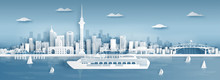Panorama View Of Auckland City Skyline With World Famous Landmarks In Paper Cut Style Vector Illustration