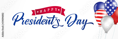 Cuadros en Lienzo Happy Presidents Day USA balloons and flags lettering banner
