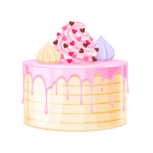 Colorful Birthday Cake Decorated With Cream Vector Illustration.
