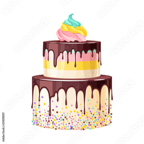 Obraz Colorful birthday cake decorated with melted chocolate vector illustration. - fototapety do salonu