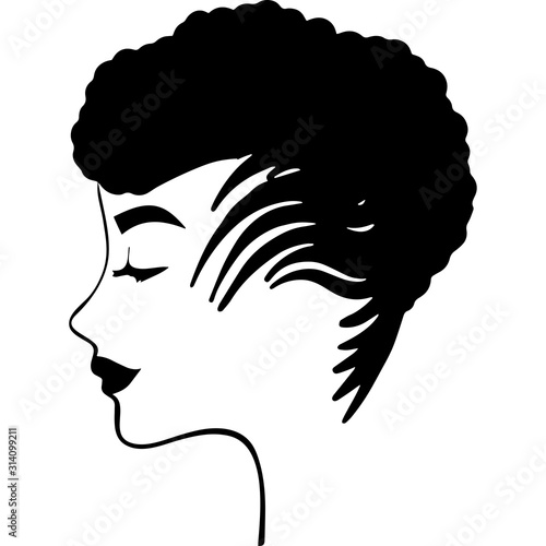 Fototapety, obrazy: Afro Woman  with side Puffs , African American girl , Afro lady , natural hair , cut files - cricut, black history month