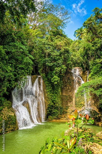 waterfalls in bohol on a sunny day. philippines Wall mural