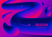 Neon Lights Blue Red Tubes Background. Halogen Or Led Gradient Colorful Glowing Lines Elements. Vector Illustration