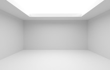 3d Render And Room Decoration Of Large Bright Empty Room Without A Ceiling