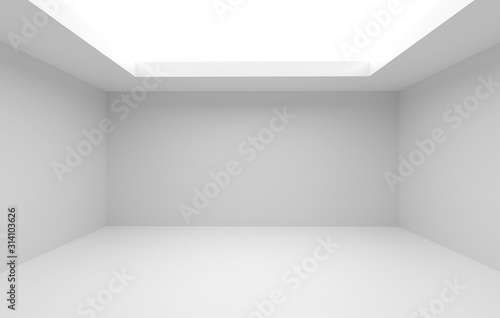 Fototapeta 3d render and room decoration of Large bright empty room without a ceiling obraz