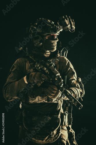 Half length, low key portrait of elite commando fighter, professional mercenary Tablou Canvas