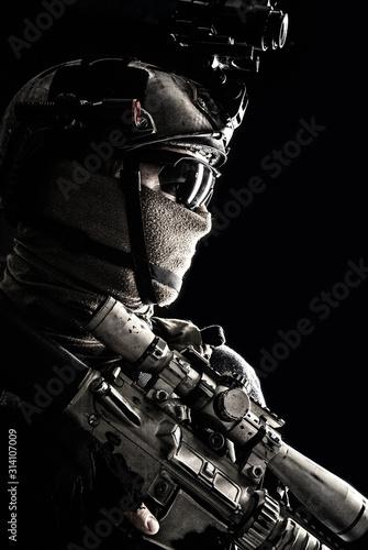 Fényképezés Shoulder portrait of army elite troops sniper, anti-terrorist tactical team mark