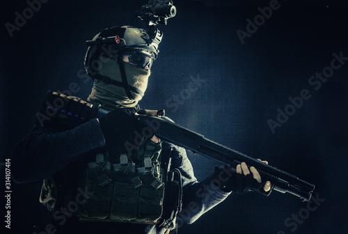 Shoulder portrait of army elite troops soldier, anti-terrorist tactical team wit Fototapet