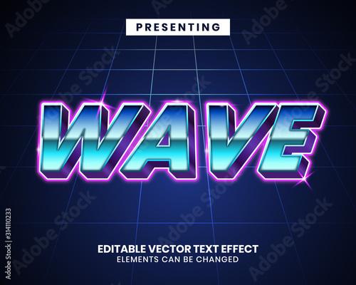 Obraz 3d Retrowave futuristic editable text effect - fototapety do salonu