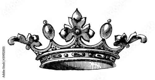 Leinwand Poster Royal Crown Sketched Vector