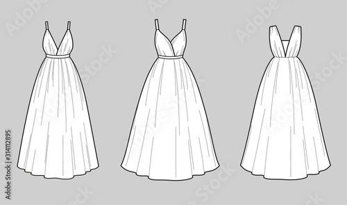 Cuadros en Lienzo Wedding dress fashion flat illustration on the background