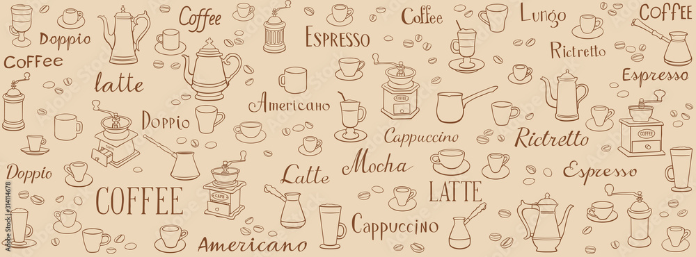 Coffee seamless pattern. Linear drawings of cups, coffee pots and coffee grinders. Lettering latte, espresso, ristretto and americano. Ornament for wrappers, menus, wallpapers and cuisine