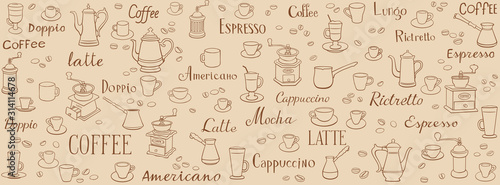 Carta da parati Coffee seamless pattern