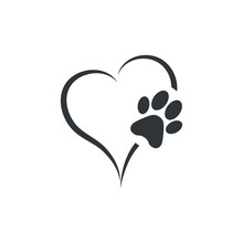 Animal Love Symbol Paw Print W...