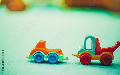 Toy car. Toy background.