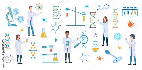 Carta da parati Set of DNA and medical science researchers, microbiologists or chemists in white